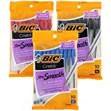 BIC Cristal Stic Ballpoint Pen, 1.0mm, Medium Point, Blue, Black & Red Ink, Pack of 30