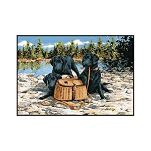"Associated Weavers ""Gone Fishing"" (Black Labs w/Creel) Wildlife Rug 36""X52"""