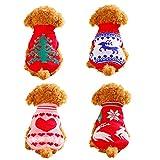 Faithtur 冬秋 クリスマス ニット 犬のセーター クリスマス ペット 服 (M ( 重量 2 -3.5 kg), Heart ハート)