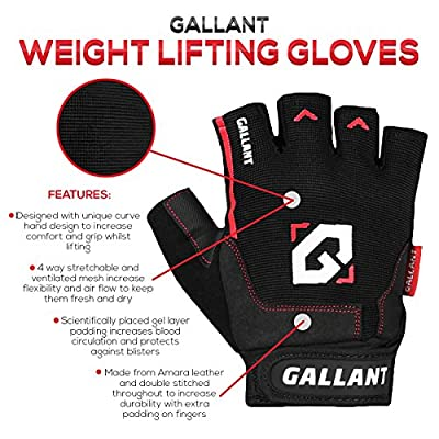 Gallant Gel Weight Lifting Body Building Advance Air Flex Gym Gloves Exercise Fitness Wrist Straps Support from Gallant Sports