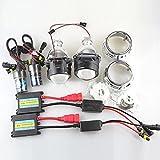 WIKOOL HIDプロジェクター ヘッドライト フォグランプ 12V 55W S15直流HIDバラスト H1 6000K レンズカバー付き 埋め込み 2個セット(JGVK)