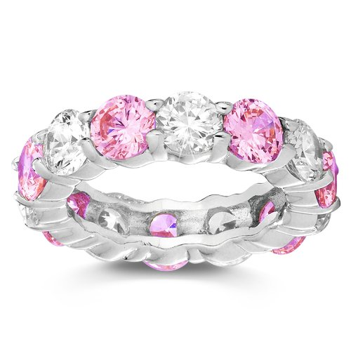 Pink and White Cubic Zirconia Stackable Eternity Band Ring