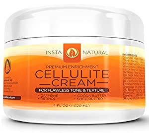 InstaNatural Cellulite Cream - With Retinol, Caffeine, Vitamin C & B5, Cocoa Butter & Shea Butter - Reduces Appearance of Cellulite - 4 Oz