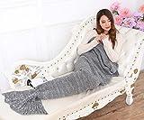 AISHN-Erwachsene-Meerjungfrau-Schwanz-Handgefertigt-Strickmuster-Blanket-Quilt-Decke-Stil-Sofa-Klimaanlage-Blanket-Kuscheldecken-Teen-Schlaf-Tasche-Bett-Erwachsene-grau
