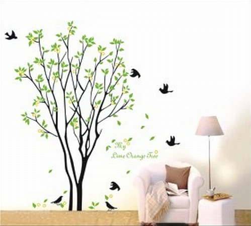Large Tree Flying Black Birds with Quote Wall Sticker Decal for Kids Room Living Room - 1