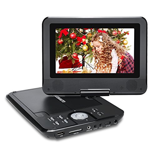 NAVISKAUTO 7 Inch HD Portable DVD/CD/MP3 Player USB/SD Card Reader with 4-5 Hour Built-In Rechargeable Battery, 270° Swivel Screen, 3m AC/DC Adapter and Customized Car Headrest Mount Case-Black