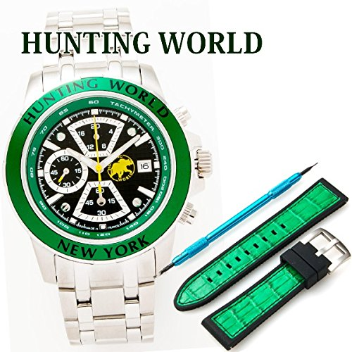 ハンティングワールド HUNTING WORLD 時計 腕時計 メンズ クロノグラフ タキメーター 交換用バンド付 BERSAGLIO/べルサーリオ グリーン HW401SGR
