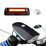 Akale-Wiederaufladbare-LED-Fahrradlampe-LED-Frontlicht-und-Rcklicht-Fr-Radfahren-550lm-3-Licht-Modi-Fahrradscheinwerfer-Fahrradlicht-Fahrradbeleuchtung-Set-2-USB-Kabel-1-Ladegert