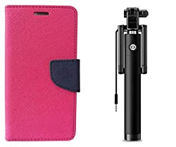Novo Style Wallet Case Cover For Motorola Moto G Pink + Wired Selfie Stick No Battery Charging Premium Sturdy Design Best Pocket Sized Selfie Stick