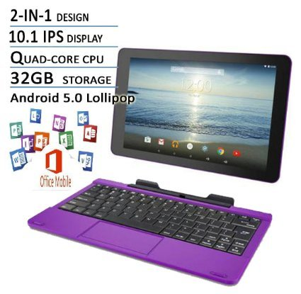 RCA Viking Pro Flagship Purple Edition 10.1 Touchscreen 2 In 1 Tablet Laptop, Detachable Keyboard, Free Office Moblie APP, Quad-Core Processor,32G storage, IPS Display, Android 5.0 Lollipop (Tablet With Apps compare prices)