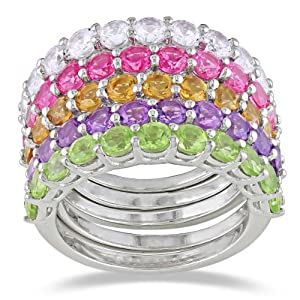 Sterling Silver Citrine, Peridot, Amethyst, Created White and Pink Sapphire Ring, Set of 5 from Amazon Curated Collection