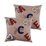 Art Decor Swede Cream Manpho Alphabets Kids Cushion Cover Set Of 2 (16X16 Inches)