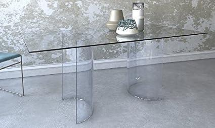 """Tavolo da pranzo moderno in vetro con basi a """"SEMICERCHIO"""" 180 x 90 Colore: Tutto Trasparente Art.TA03C/01"""
