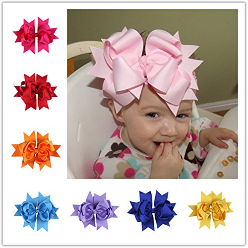 "Bzybel 12 Pcs Little Girl's 7.5"" Boutique Spike Big Hair Bow Clips Grosgrain Ribbon Alligator Clips Headwear with Free Crochet Headbands for Baby Shower Gift 12 Colors"