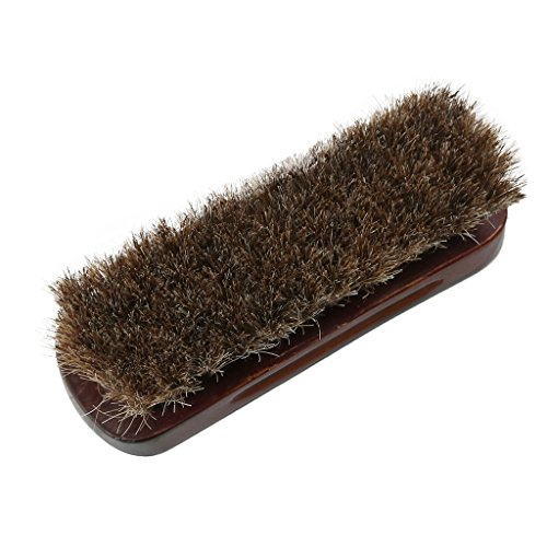 crownroyaljack 100% Horsehair Shoe Shine Brush for Shoes, Boots & Other Leather Care - 4.9'' Long ,Brown (Horse Hair Scrub Brush compare prices)