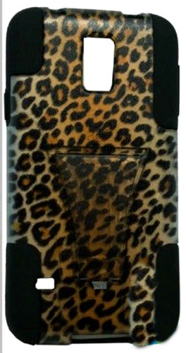 Mylife (Tm) Deep Coal Black And Leopard Design - Neo Hybrid Series (Built In Kickstand) 2 Piece + 2 Layer Case For New Galaxy S5 (5G) Smartphone By Samsung (External Hard Fit Armor With Built In Kick Stand + Internal Soft Silicone Rubberized Flex Gel Bump
