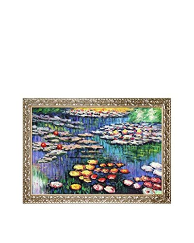 Claude Monet's Water Lilies, Pink Framed Hand Painted Oil on Canvas, Multi, 29.5″ x 41.5″
