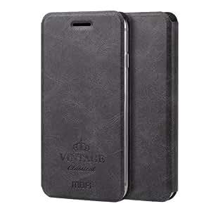 Crazy4Gadget MOFI VINTAGE for iPhone 6 Plus & 6s Plus Crazy Horse Texture Horizontal Flip Leather Case with Card Slot & Holder(Black)