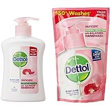 Dettol Skin Care Liquid Hand Wash - 200 Ml With Dettol Liquid Soap Refill(Original Or Skincare) - 185 Ml
