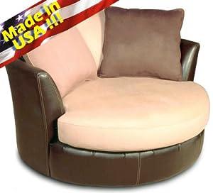Roundhill Furniture Laredo Round Swivel Accent Chair Mocha Oversized Chairs