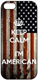 Keep Calm I'm American, US Flag 933, iPhone 5 Premium Hard Plastic Case, Cover, Aluminium Layer, Quote, Quotes, Motivational, Inspirational, Theme Shell