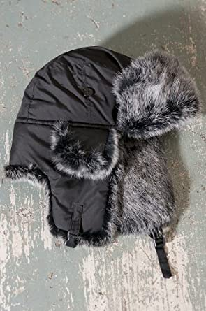 Down-Filled Nylon Trapper Hat with Rabbit Fur Trim, BLACK/NATURAL SNOWTOP, Size SMALL (6 3/4 - 7)
