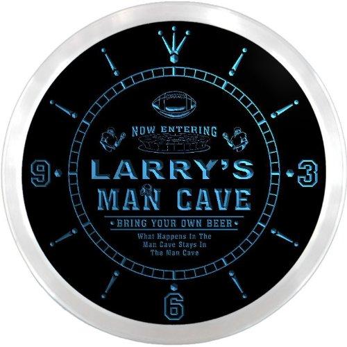 Ncqa0029-B Larry'S Football Man Cave Beer Pub Led Neon Sign Wall Clock