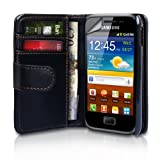 Black Leather Wallet Case Cover For The Samsung Galaxy Ace Plus S7500 With Screen Protector Film And Grey Micro-Fibre Polishing Clothby Yousave Accessories