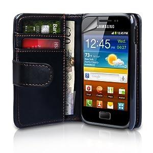 Yousave Accessories TM Schwarz Leder Brieftasche Schutzhülle Für Das Samsung Galaxy Ace Plus S7500 Mit Displayschutz Folie Und Graues Micro Faser Poliertuch