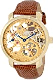 "Akribos XXIV Mens AK406YG ""Bravura Davinci"" Mechanical Gold-Tone Stainless Steel and Leather Watch"