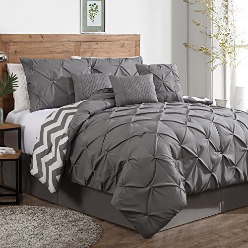 Find Bargain Geneva Home Fashion 7-Piece Ella Pinch Pleat Comforter Set, King, Grey