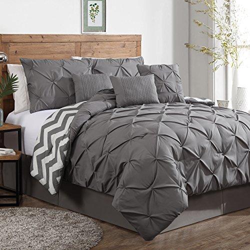 Find Bargain Geneva Home Fashion 7-Piece Ella Pinch Pleat Comforter Set, King, Grey