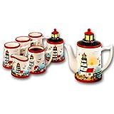 Light House Ceramic Shaped 3-d Coffee Set