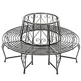 TecTake Panchina circolare per di albero metallo (164 x 164 x 84,5 cm) - antracite -