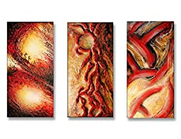 Neron Art - Handpainted Abstract Oil Painting on Gallery Wrapped Canvas Group of 3 pieces - Reading 48X32 inch (122X81 cm)