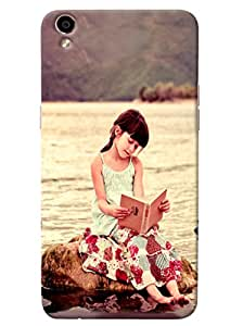 Omnam Cute Girl Sitting And Reading Book Printed Designer Back Cover Case For Oppo F1 Plus