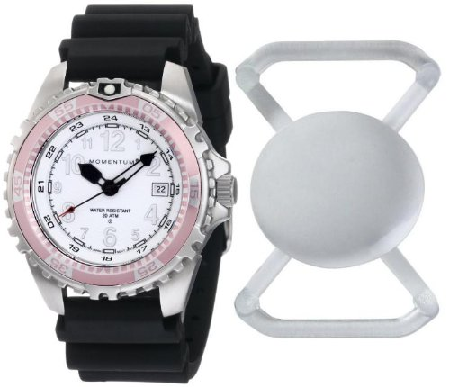New St. Moritz Momentum M1 Twist Women's Dive Watch & Underwater Timer for Scuba Divers with Pink Bezel, Black Hyper Rubber Band & FREE Watch Protector (Valued at $12.95) for Added Protection to the Glass Face of Your Dive Watch