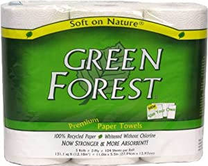 Green Forest Paper Towels, White, 1 Roll, 104 Count (Pack of 30)