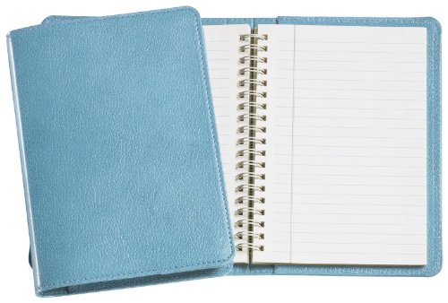Graphic Image Wire-O-Notebook, Goatskin Leather, 7-Inches, Turquoise (JS7MRBLGTITUR)