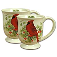 Christmas Holiday Mug Coffee Cup With Cardinal Pack of 2 Pieces - 4.5 Inch