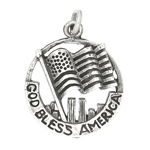 Sterling Silver One Sided God Bless America Disc with Flag Charm