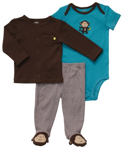 Carter'S Baby Boy'S 3 Piece Essentials - Monkey With Banana - 6 Months front-1041374