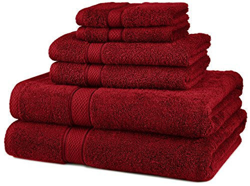 Pinzon Egyptian Cotton 6-Piece Towel Set, Cranberry (Red Hand Towels compare prices)