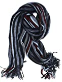 SethRoberts-Long Striped Men's Knit Winter Scarf in Gray/Navy/Red
