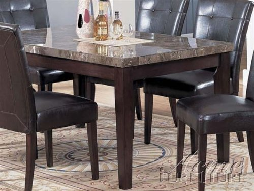 Buy low price acme furniture dining table with marble top in espresso finish vf am7058 - Marble dining table prices ...