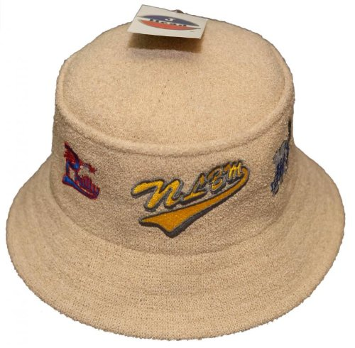 New! Negro League Baseball Logo Cap Bucket Hat Embroidered Fishing Hat - NLB - Tan
