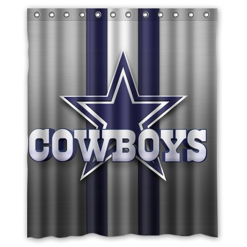 Superb Hot Selling Dallas Cowboys Custom Waterproof Fabric Bathroom Shower Curtain  60 X 72