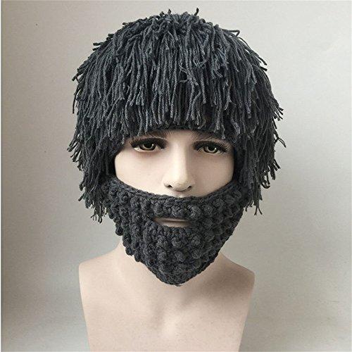 Jenny Shop Beard Wig Hats Handmade Knit Warm Winter Caps Men Women Kid, Grey