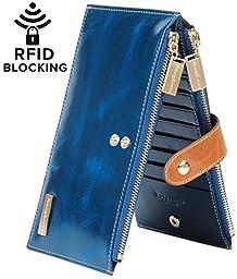 Borgasets RFID Blocking Women\'s Genuine Leather Zipper Wallet Card Case Purse Blue