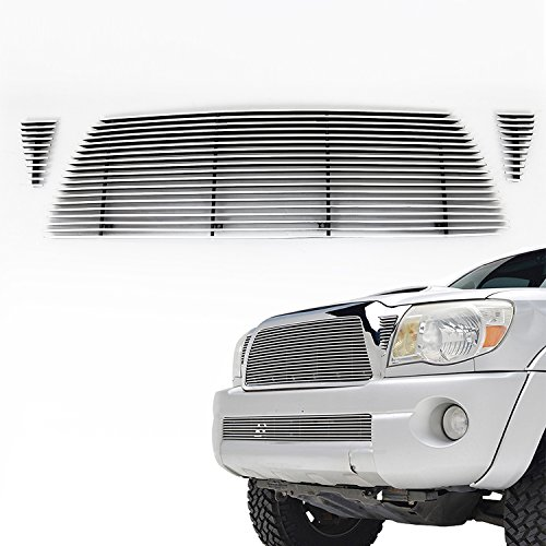 E-Autogrilles Aluminum Polished 4mm Horizontal Billet Grille for 05-10 Toyota Tacoma (3PCS)(31-0118) (Custom Toyota Emblem compare prices)